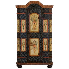 19th Century Antique Painted Armoire Cabinet, circa Late 19th Century
