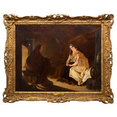 """19th Century Antique Painting """"The Fortune Teller"""" by Henry Nelson O'Neil A.R.A"""