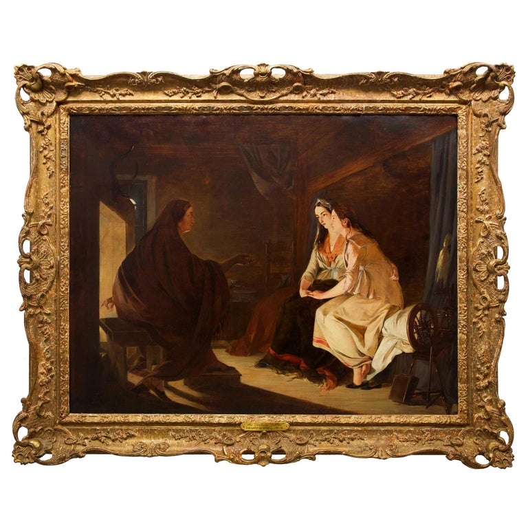 """19th Century Antique Painting """"The Fortune Teller"""" by Henry Nelson O'Neil A.R.A For Sale"""