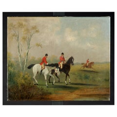 19th Century Antique Paintings, English Riding Scenes Sign. W.B