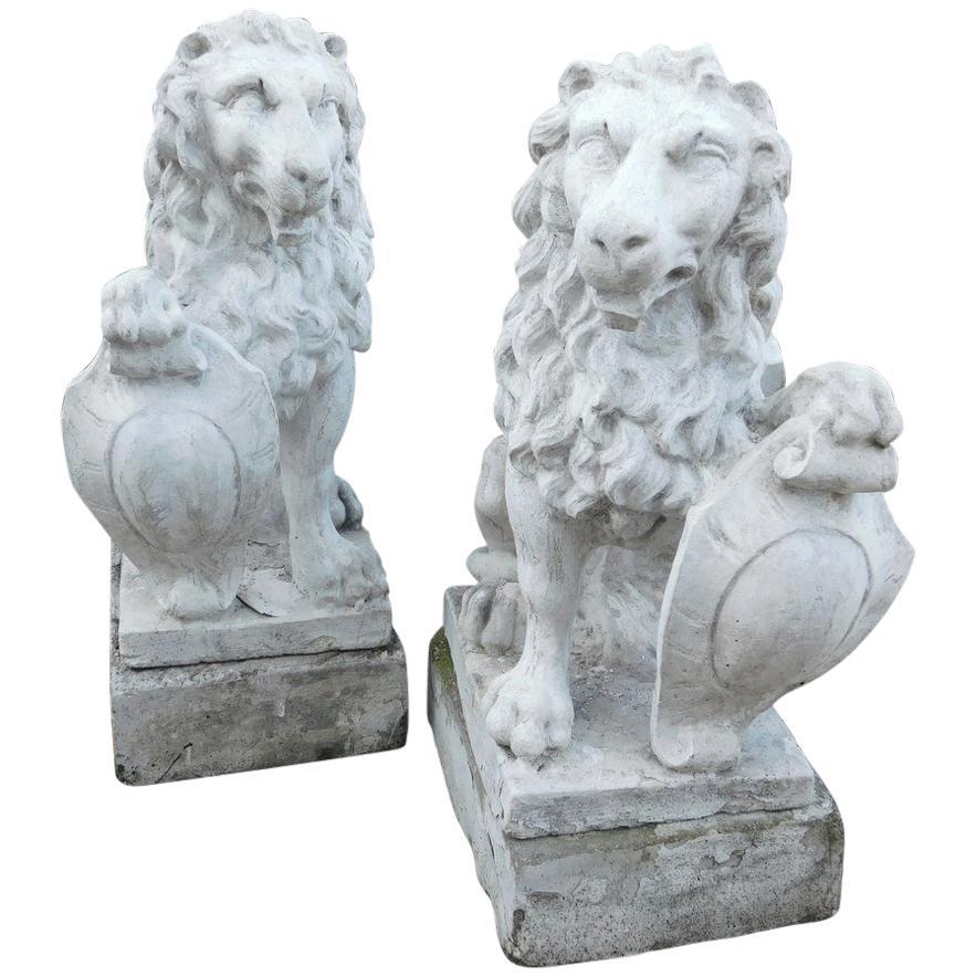 19th Century Antique Pair of Artificial Stone Lions