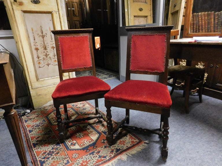 Italian 19th Century Pair of Chairs, Armchairs, Red Velvet, Wood with Frames, Italy For Sale
