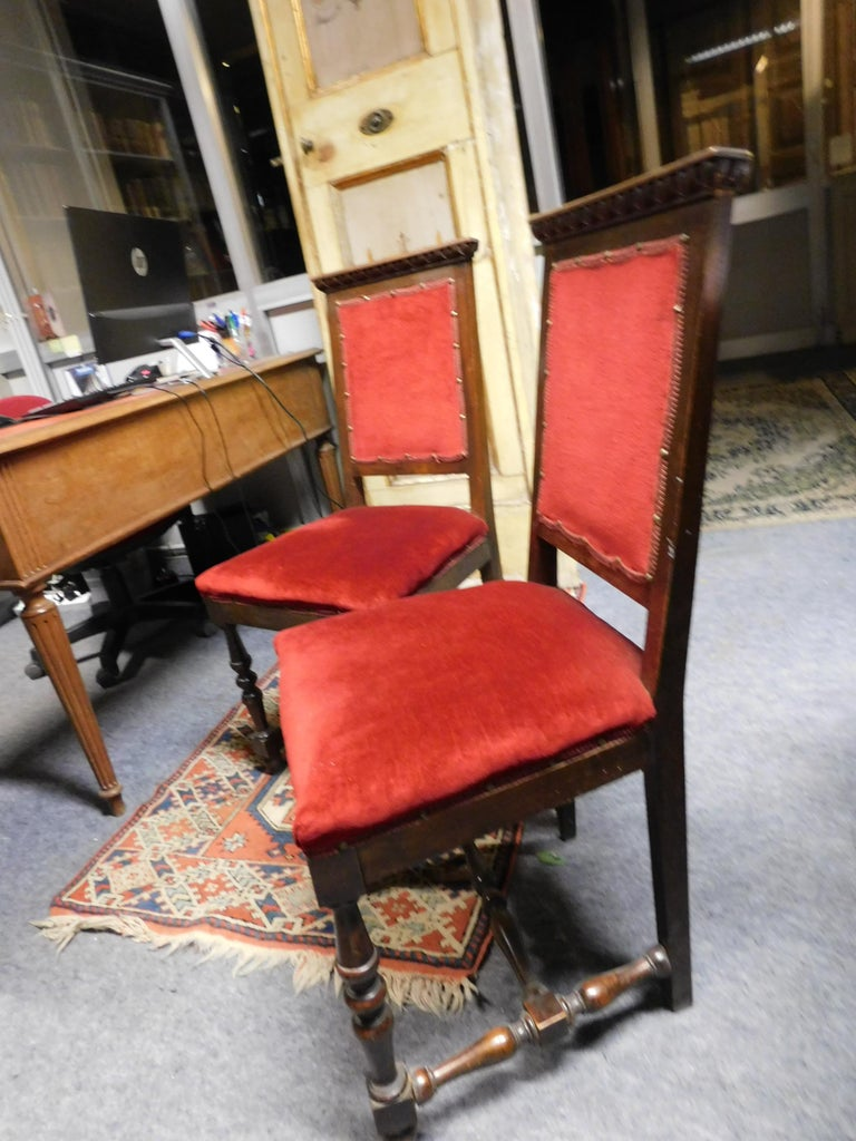 19th Century Pair of Chairs, Armchairs, Red Velvet, Wood with Frames, Italy In Good Condition For Sale In Cuneo, Italy