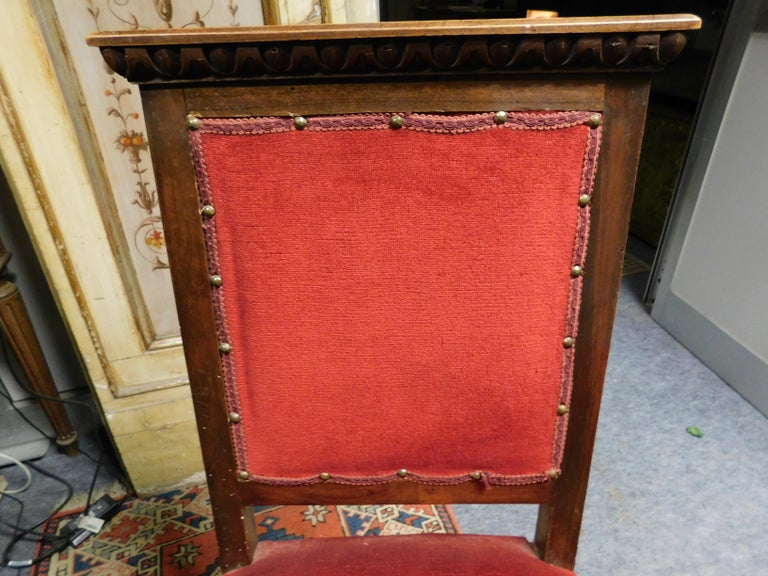 Early 19th Century 19th Century Pair of Chairs, Armchairs, Red Velvet, Wood with Frames, Italy For Sale