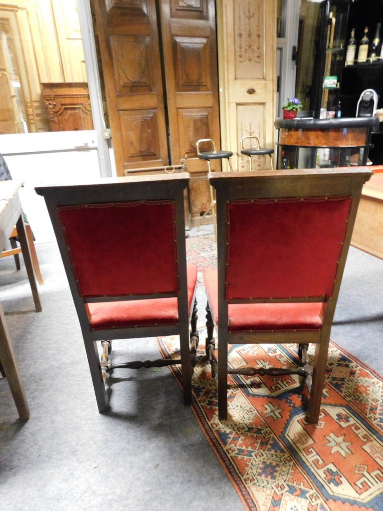 19th Century Pair of Chairs, Armchairs, Red Velvet, Wood with Frames, Italy For Sale 1