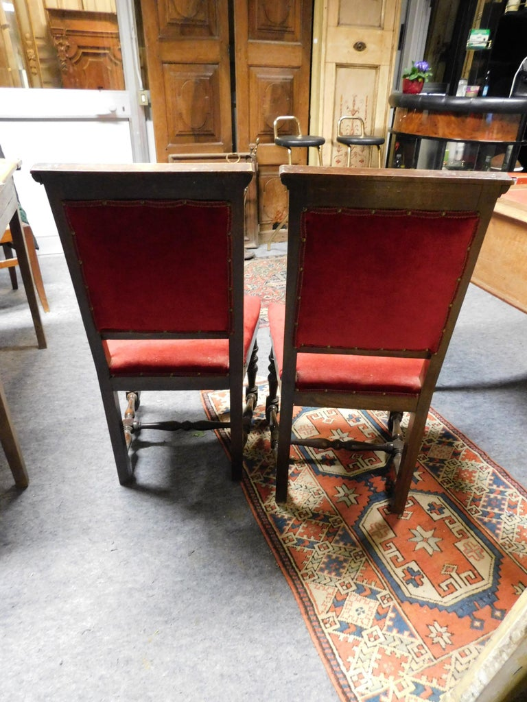 19th Century Pair of Chairs, Armchairs, Red Velvet, Wood with Frames, Italy For Sale 2