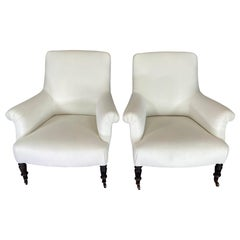 19th Century Antique Pair of Napoleon III French Armchairs, circa 1820