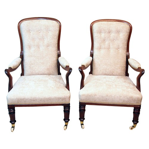 19th Century Antique Pair of Rosewood Library Armchairs