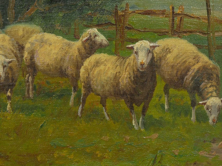 19th Century Antique Pastoral Landscape Painting of Sheep by Jan Pietras For Sale 3