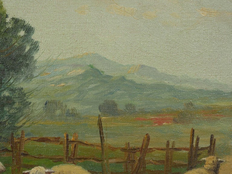 19th Century Antique Pastoral Landscape Painting of Sheep by Jan Pietras For Sale 4