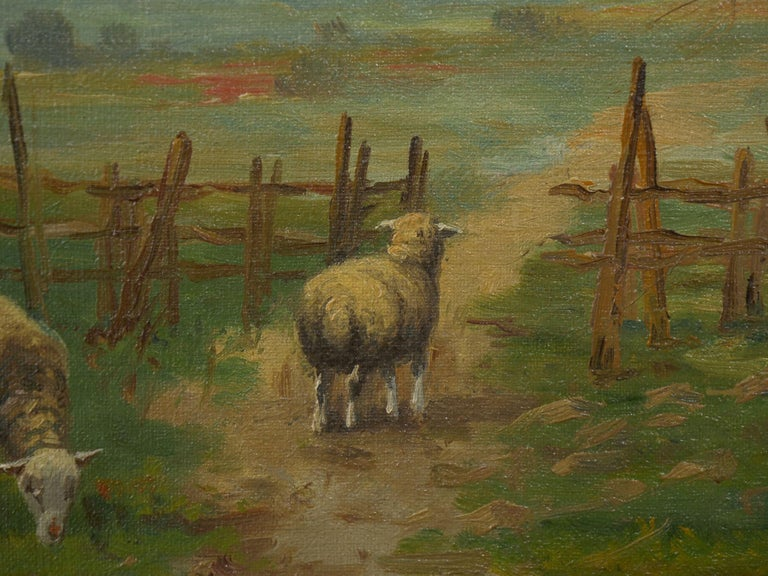 19th Century Antique Pastoral Landscape Painting of Sheep by Jan Pietras For Sale 5