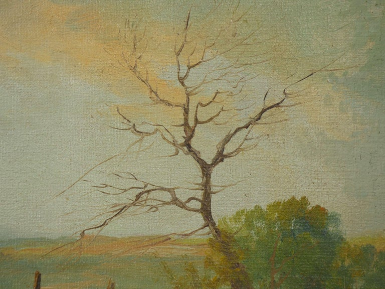19th Century Antique Pastoral Landscape Painting of Sheep by Jan Pietras For Sale 6