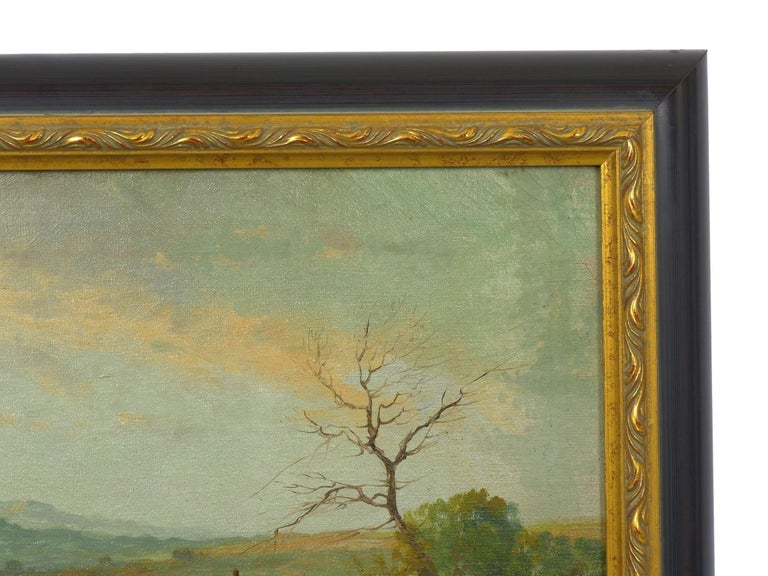 19th Century Antique Pastoral Landscape Painting of Sheep by Jan Pietras For Sale 7