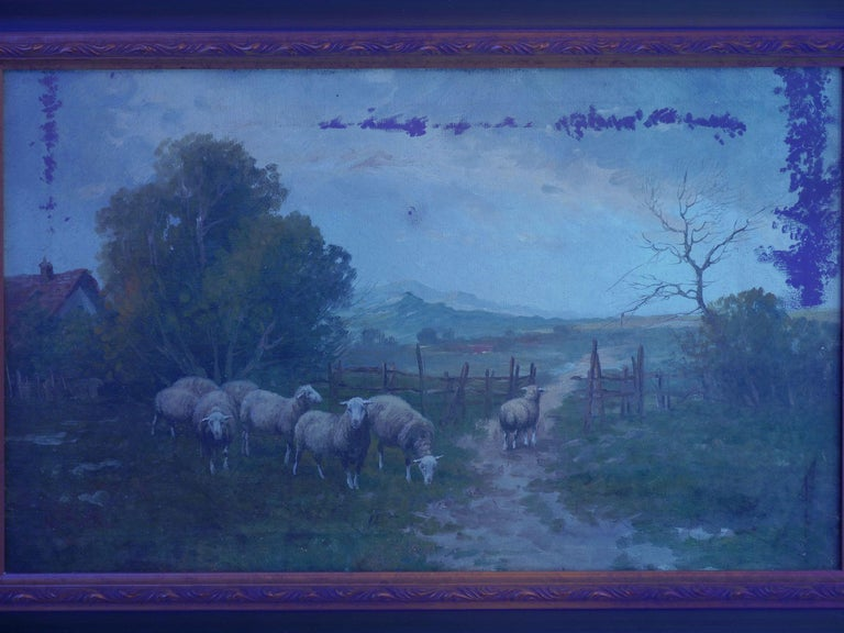 19th Century Antique Pastoral Landscape Painting of Sheep by Jan Pietras For Sale 9