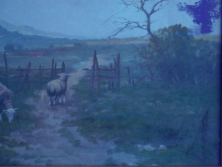 19th Century Antique Pastoral Landscape Painting of Sheep by Jan Pietras For Sale 11
