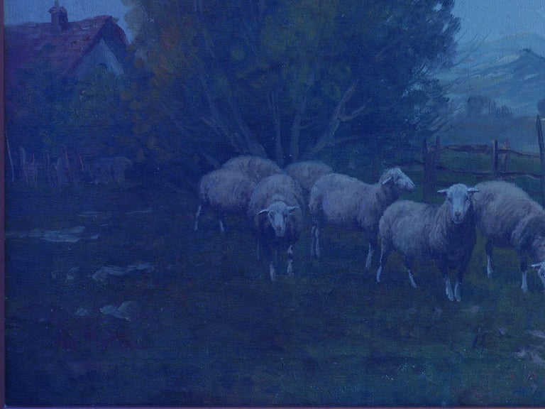 19th Century Antique Pastoral Landscape Painting of Sheep by Jan Pietras For Sale 12