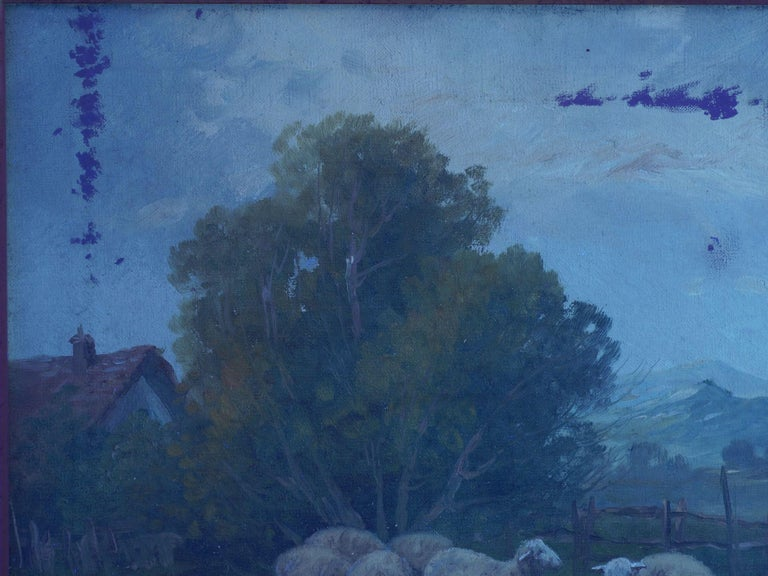 19th Century Antique Pastoral Landscape Painting of Sheep by Jan Pietras For Sale 13
