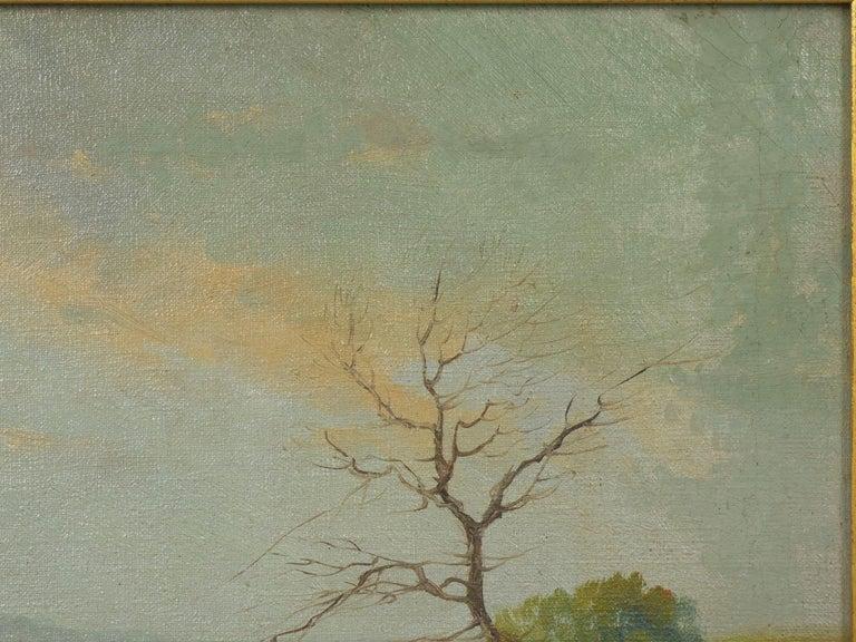 Barbizon School 19th Century Antique Pastoral Landscape Painting of Sheep by Jan Pietras For Sale