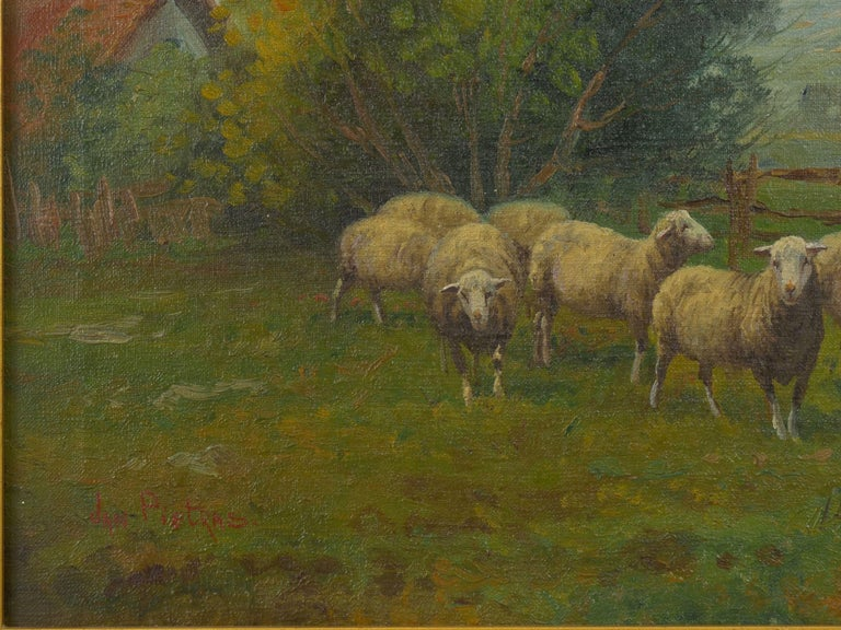 Hand-Painted 19th Century Antique Pastoral Landscape Painting of Sheep by Jan Pietras For Sale