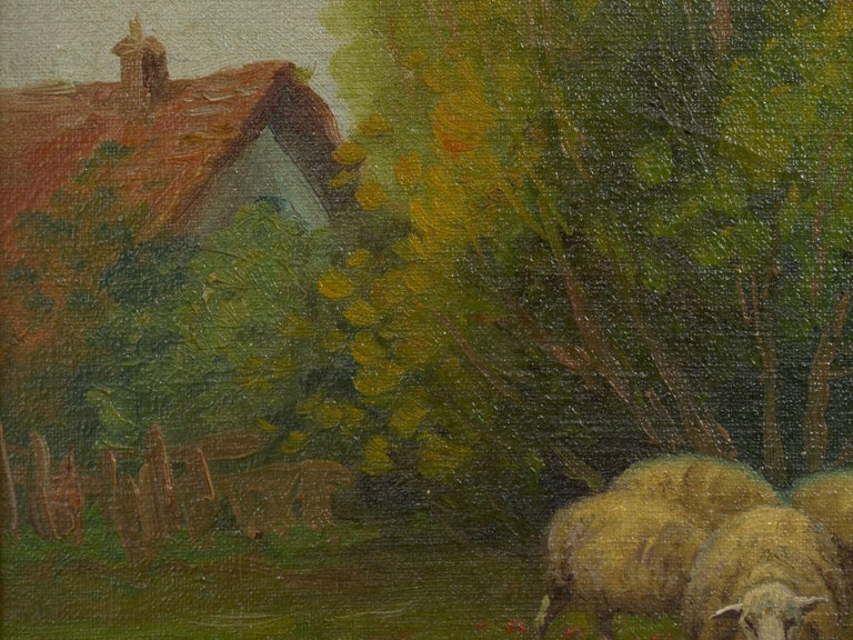 19th Century Antique Pastoral Landscape Painting of Sheep by Jan Pietras For Sale 1