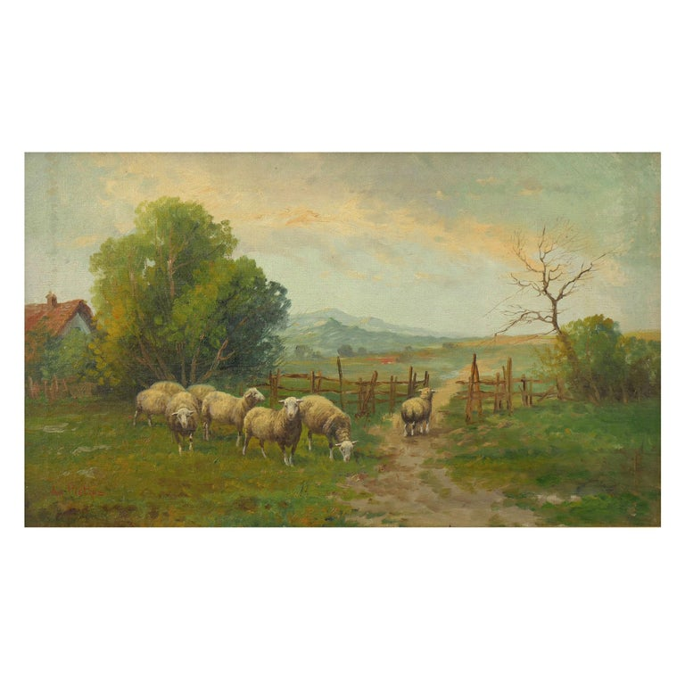 19th Century Antique Pastoral Landscape Painting of Sheep by Jan Pietras For Sale