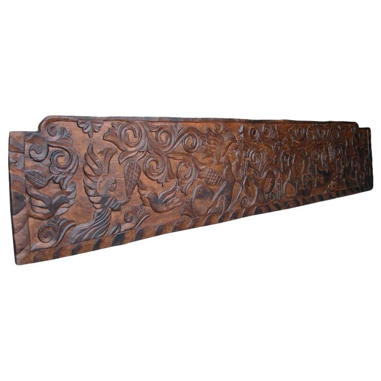 19th Century Antique, Carved Rustic Wooden Panel or Headboard
