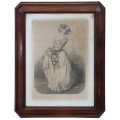 19th Century Antique Print Young Girl with Flowers