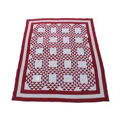19th Century Antique Quilt, Red and White Ocean Waves Quilt