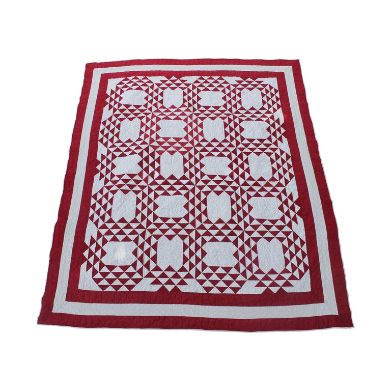 19th Century Antique Quilt, Red and White Ocean Waves Quilt For Sale