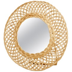 19th Century Antique Rattan Table Mirror