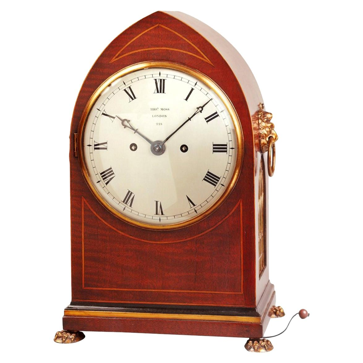 19th Century Antique Regency Mahogany Bracket Clock by Thomas Moss of London