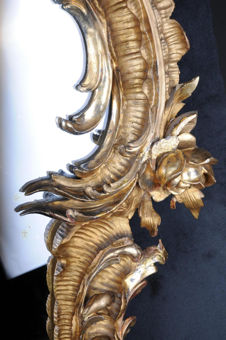 19th Century Antique Rococo Mirror Gilded Around 1880, Napoleon III For Sale 5