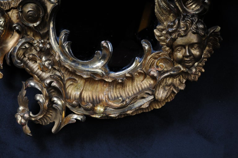 French 19th Century Antique Rococo Mirror Gilded Around 1880, Napoleon III For Sale