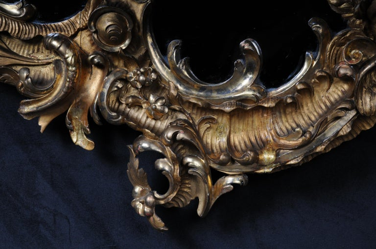 Hand-Carved 19th Century Antique Rococo Mirror Gilded Around 1880, Napoleon III For Sale