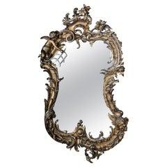 19th Century Antique Rococo Mirror Gilded Around 1880, Napoleon III