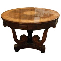 19th Century Antique Round Table Inlaid