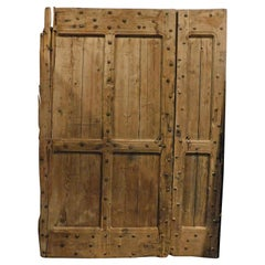 19th Century Antique Rustic Entrance Double Door Brown with Larch Nails