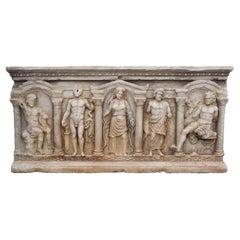 19th Century Antique Sarcophagus, Italian Thassos Marble Coffin or Basin Planter
