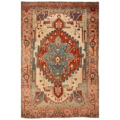 19th Century Antique Serapi Handmade Wool Rug