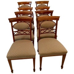 19th Century Antique Set of Eight Inlaid Mahogany Dining Chairs