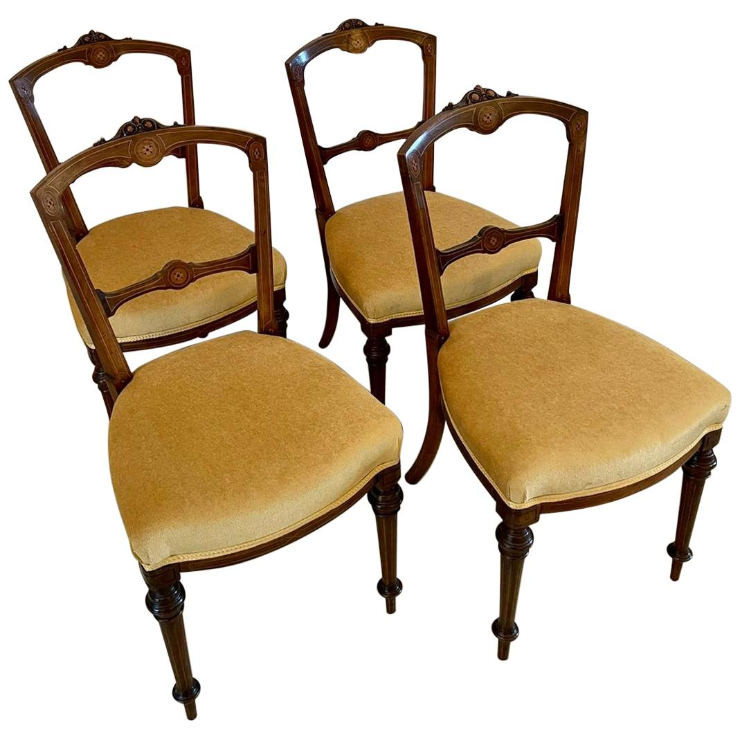 19th Century Antique Set of Four Victorian Inlaid Walnut Dining Chairs