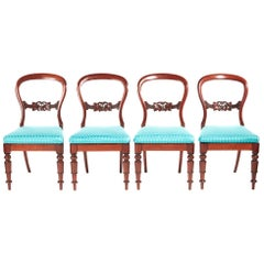 19th Century Antique Set of Four Victorian Mahogany Balloon Back Dining Chairs