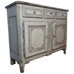 19th Century Antique Sideboard, Louis XVI Style, Patinated Oak with Marbled top