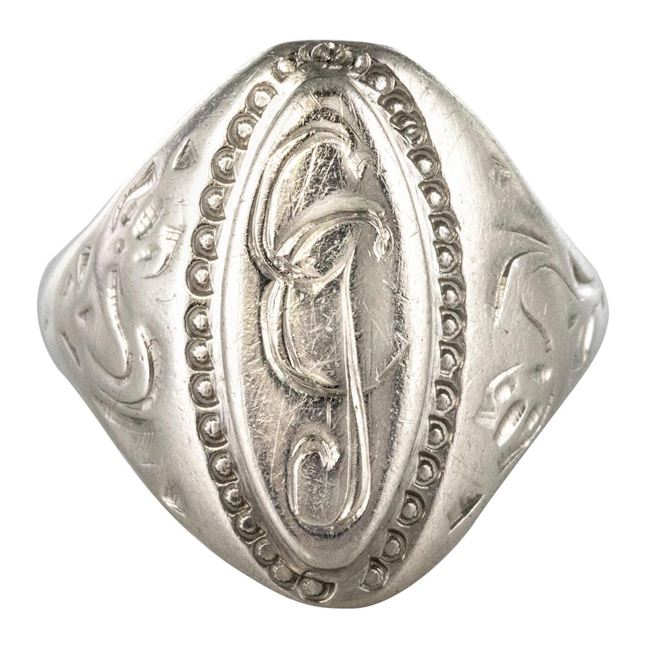 19th Century Antique Silver Unisex Signet Ring
