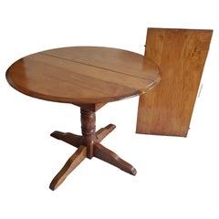 19th Century Antique Solid Maple Pedestal Kitchen Table