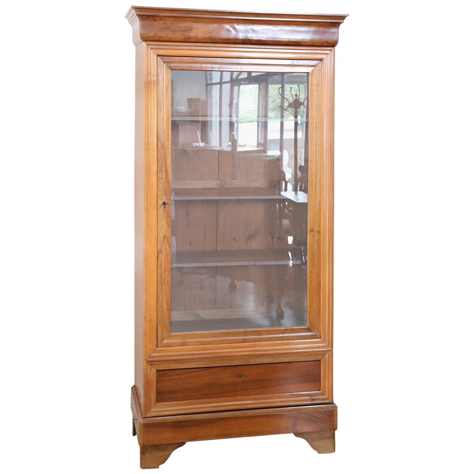 19th Century Antique Solid Walnut Bookcase or Vitrine