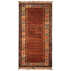 19th Century Antique Soumak Rug Gometric Burnt Red and Beige All-Over Pattern