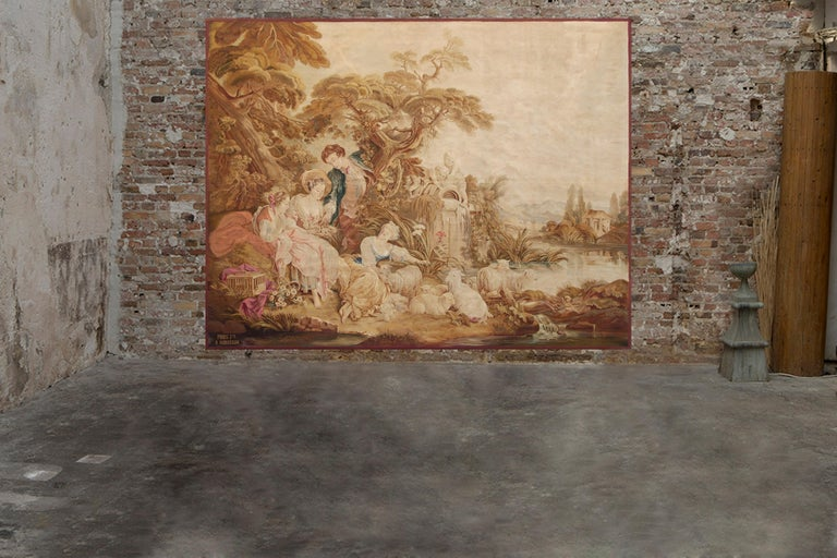 Carton after François Boucher Composition: Wool Dimensions: 320 x 260 cm; 126 x 102.3 in  Aubusson tapestry of the 19th century from a cardboard by François Boucher. The subject is characteristic of the artist's work and a taste for gallantry and