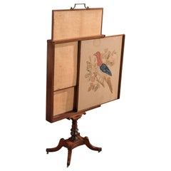 19th Century Antique Tapestry Display Stand, Regency Mahogany Needlepoint