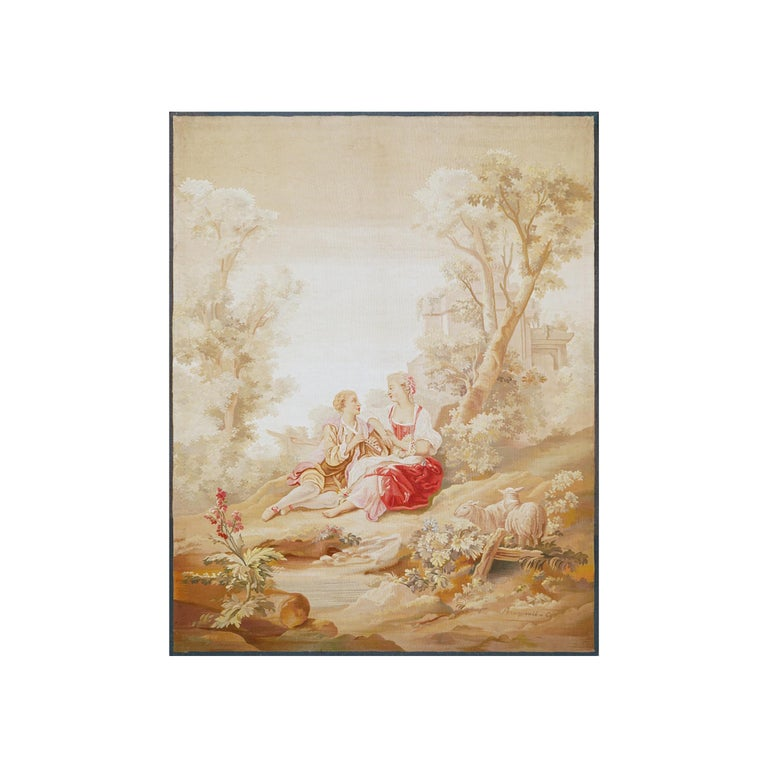 Title: A Romantic Scene Aubusson, 19th century Dimensions: 180 x 142 cm; 70.9 x 56 in   These two tapestries dating from the early 19th century.  They were made after cartoons from the 18nth century.  These two love scenes with light colors reflect
